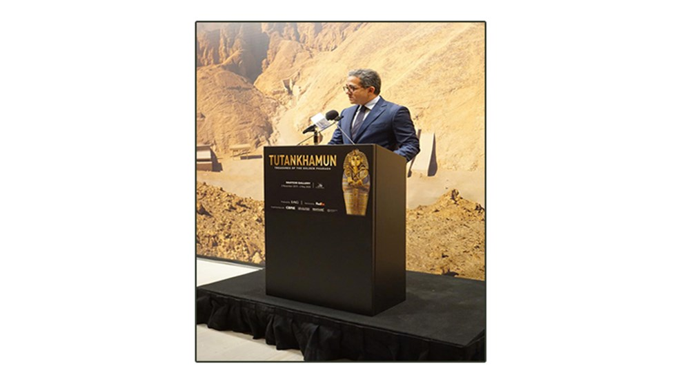 "International press conference following the inauguration of the ""Tutankhamun: Treasures of the Golden Pharaoh"" exhibition."