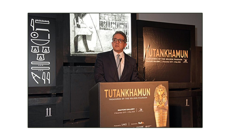 H.E the Minister of Antiquities officially inaugurates the Tutankhamun exhibition in London.