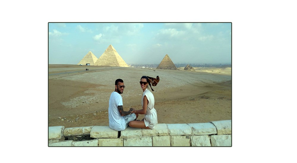 Brazilian Football Player Daniel Alves and His Wife Joanna Sanz Visit Egypt