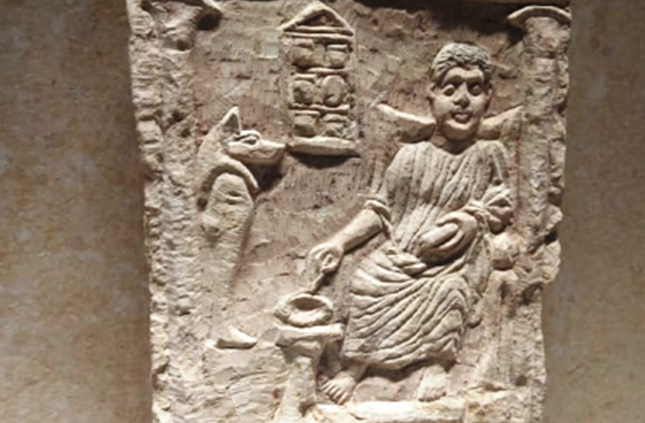 A stele depicting a physician or pharmacist
