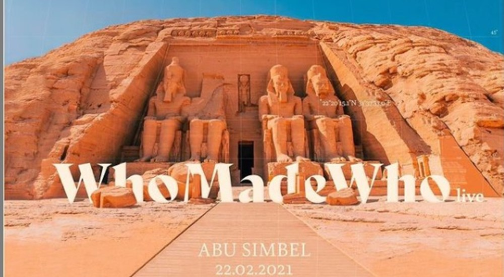 "the Danish trio"" Who Made Who"" is performing live at Abu Simbel Temple"